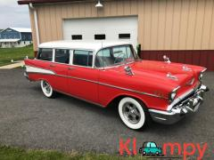 1957 Chevrolet 210 Station Wagon Red and White